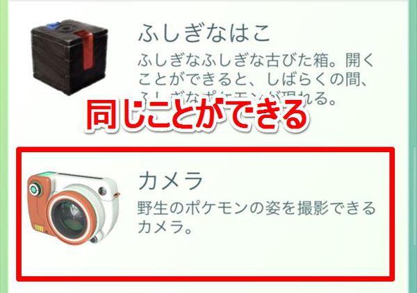 アイテム欄の「カメラ」からポケモンを選ぶのもOK