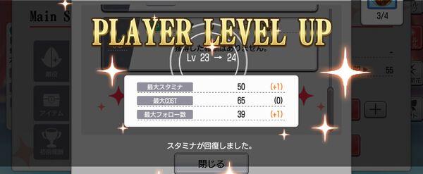 プレイヤーレベルアップ画面