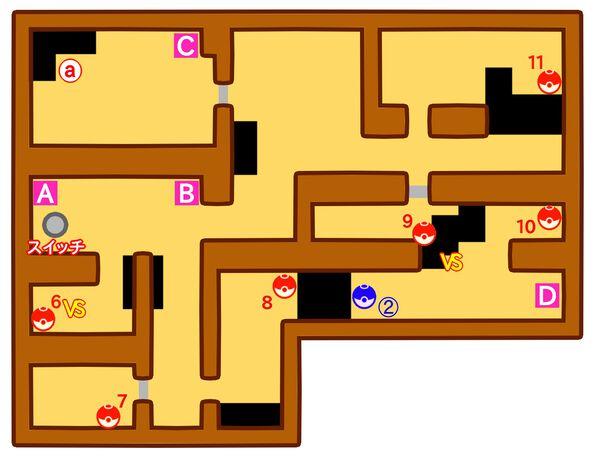 ポケモンやしきのマップ2階