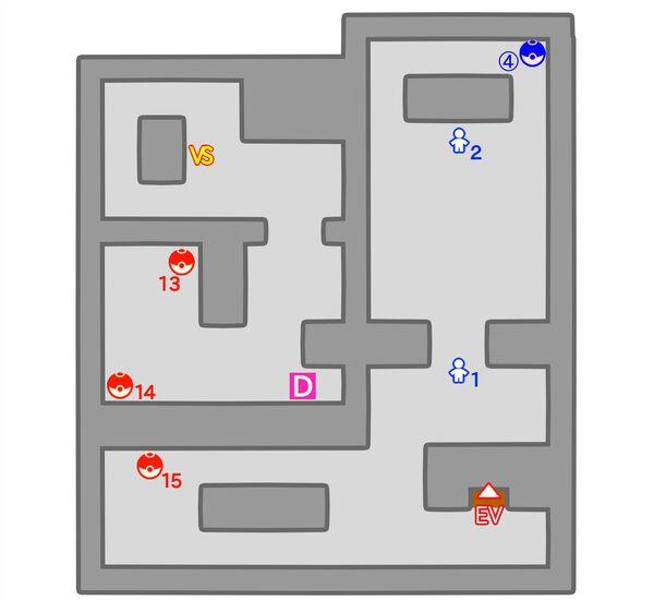 ロケット団アジトのマップ 地下4階