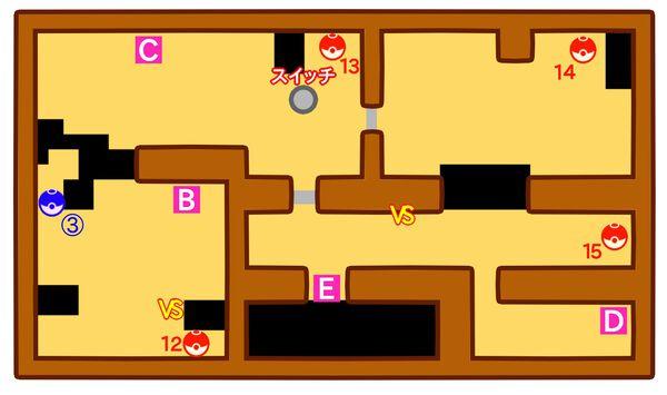 ポケモンやしきのマップ3階